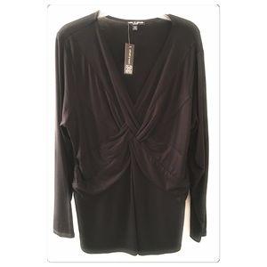 Cable & Gauge Blouse Black Long Sleeve Size 1X